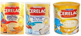 Nestle Cerelac Combo 400g (Pack of 3) Mixed Fruits + Mixed Vegetables  Rice + Rice with Milk