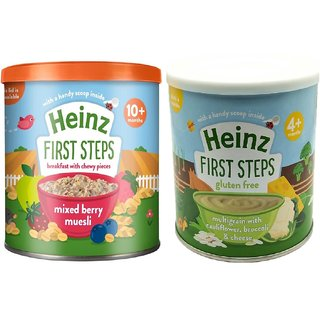 Heinz First Steps Baby Cereal (Pack of 2) - Mixed Berry Muesli + MG with Cauliflower,Broccoli Cheese
