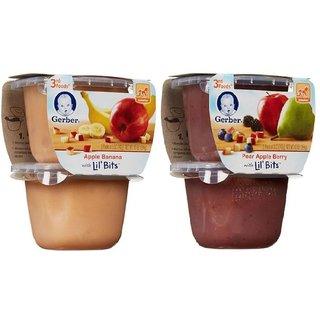 Gerber 3rd Foods for Crawler Combo (Pack of 2) - Apple Banana + Pear Apple Berry