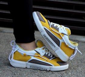 Woaker Yellow Slip on Sneakers For Men