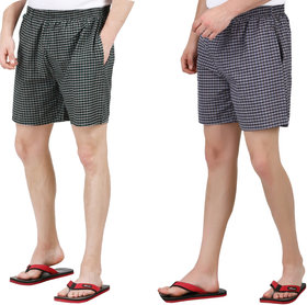 Yellow Tree Premium Quality Checkered ( Pair of Two) Men's  Boy's Boxers For All Purpose.
