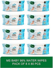 Mother sparsh baby softsensitive skin care water based wipes - Baby 98 Water Wipes 80 Pcs 1x80wipes (pack of eight)