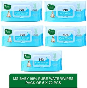 Mother sparsh natural sensitive baby skin care water based wipes -Baby 99 Pure Waterwipes - 72 Pcs (pack of 5)