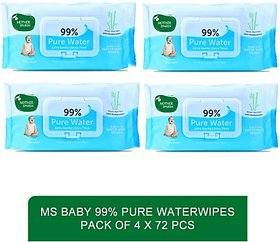 Mother sparsh cleansing and clean water based baby wipe -Baby 99 Pure Waterwipes - 72 Pcs (pack of 4)