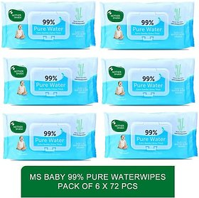 Mother sparsh doctor recommed water based baby wipes -Baby 99 Pure Waterwipes - 72 Pcs (pack of 6)