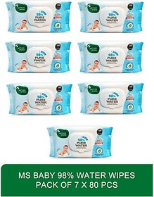 Mother Sparsh water based rash protection baby wipes - Baby 98 Water Wipes 80 Pcs(Pack of 7)