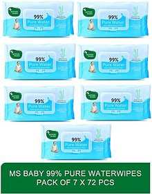 Mother sparsh baby rash protection complete cleansing water based wipes - Baby 99 Pure Waterwipes - 72 Pcs (pack of 7)