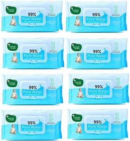 Mother sparsh baby skin care, rash protection water based wipes - Baby 99 Pure Waterwipes - 72 Pcs(pack of 8)