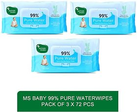 Mother sparsh baby delicate skin care water based wipes - Baby 99 Pure Waterwipes - 72 Pcs (pack of 3)