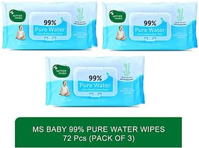 Mother Sparsh Baby 99 Pure Waterwipes - 72 Pcs(Pack of 372pcs)