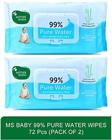 Mother Sparsh Baby 99 Pure Waterwipes - 72 Pcs(Pack of 2
