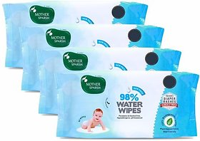 Mother Sparsh 98 Water Wipes (80 Scented Baby Wipes, Pack of 4)