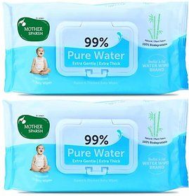 Mother Sparsh Unscented 99 Pure Water Wipes (72 Baby Wipes, Pack of 2)