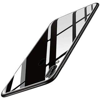 Americhome Glass back side rubber back cover for Vivo V9 Model 1723 (Black)