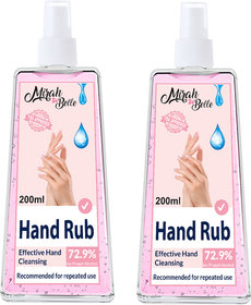 Mirah Belle - Hand Rub Sanitizer Spray (Pack of 2-200 ML) - FDA Approved (72.9 Alcohol) - Best for Men, Women and Child