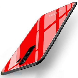 Americhome Glass back side rubber back cover for Redmi Note 8 Pro, Model 2015105, M1906G7I, M1906G7G (Red)