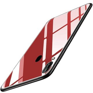 Americhome Glass back side rubber back cover for Vivo Y91i (Red)