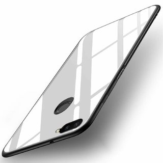 Americhome Glass back side rubber back cover for Oppo F9 (white)