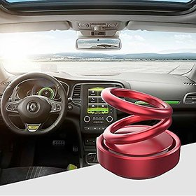 Red Solar Power Rotating Double Ring Perfume Fragrance Air Freshener Aromatherapy For Car Dashboard , Office , Home etc