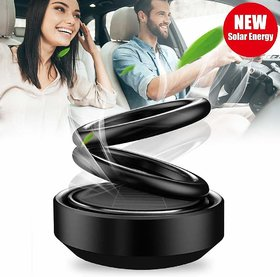 Black Solar Power Rotating Double Ring Perfume Fragrance Air Freshener Aromatherapy For Car Dashboard, Office , Home etc