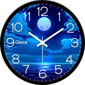 Clarco Designer Analogue Round Glass Wall Clock Size(30 cm x 30 cm x 4 cm)(WL_813L)