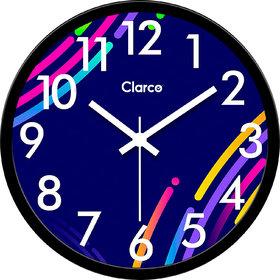 Clarco Designer Plastic Multicolor Analogue Round Glass Wall Clock Size(30 cm x 30 cm x 4 cm)(WL_827L)