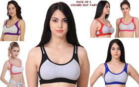 Rayyans (Pack of 6)  Non Padded Non-Wired High Export Quality Sports Bra(Design and color may differ)