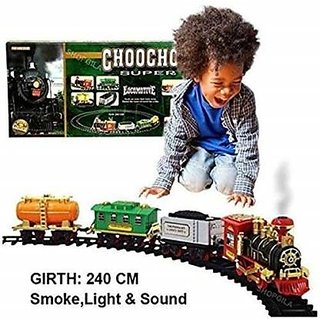 Battery Operated choo choo classical toy train set with light ,sound  Smoke (multicolor)