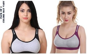 Rayyans (Pack of 2) High Export Quality Non Padded Non-Wired Sports Bra (Bra Design n color may VARY)