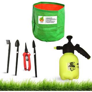 UNIGROW Garden tools set BONSOI KIT (4 pieces) with 1 L air pressure LIQUID SPRAYER and GROWBAG for terrace garden.