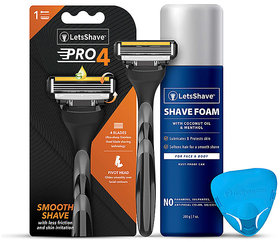 LetsShave Pro 4 Razor Trial Kit for Men - Pro 4 Blade + Razor Handle + Razor Cap + Shave Foam - 200 gm