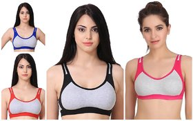 Rayyans (Pack of 4) High Export Quality Non Padded Non-Wired Sports N Gym Bra (Design n color may Differ)