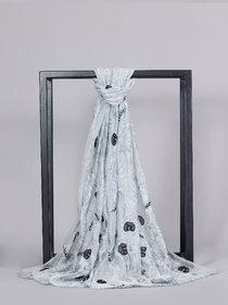 Welkin Accessories Silken silk cotton printed & hand embroidered scarf (Length : 180cm)
