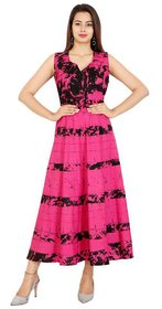 Mahima Fab Traditional Printed Cotton Stitched Gown For Women's Maxi Long Dress MultiColor( Free Size)
