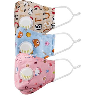 Anti Pollution Dust Face Mask Washable Reusable PM 2.5 with Breathing Valve for Kids children boys girls unisex (multi)