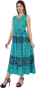 MAHIMA FAB Traditional Paisley printed Cotton Stitched Gown For Women's Maxi Long Dress Pink Color( Free Size)