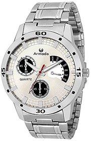 Armado Quartz Movement Analogue Silver Dial Mens Watch -(AR-071-SL)