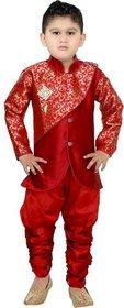 DIGIMART Red Color Art Silk Sherwani Pyjama Set For Boys