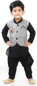 DIGIMART Black Color Cotton Blended Kyrta Pyjama With Grey Waistcoat Set For Boys