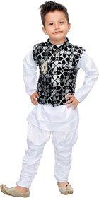 DIGIMART White Color Cotton Blended Kyrta Pyjama With Black Waistcoat Set For Boys