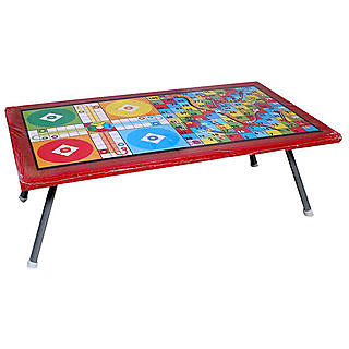 Haraf Fashions Ludo Game Printed Foldable Eating and Study Multipurpose Bed Table 1 Dice And 16 Plastic Pawns
