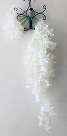 PS GOODS HOUSE Artificial Primrose Flower Hanging with Off White Flowers and a Steel Stand for Indoor/Outdoor Flower Dec