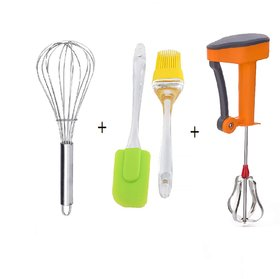 Kitchen Tools Combo Set Pack of 4 - 16 cm Silicon Basting Spatula, Oil Brush , Power Free Hand Blender/Egg Beater and St