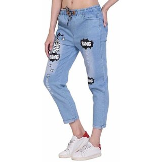 BuyNewTrend Roll Up Light Blue Drawstring Printed Jeans For Women