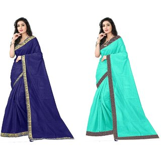 Saadhvi Navy Blue and Blue Art Silk Lace Work Pack of 2 Saree with Blouse