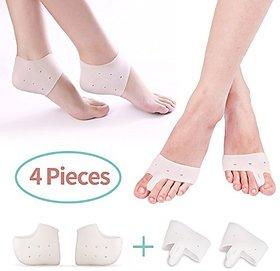 JonPrix Combo,  Foot Fingers Toe Corrector  Silicone Gel Heel Pad Socks For Heel Swelling Pain Relief.