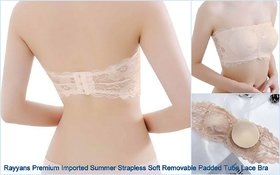Rayyans (Pack of 1) Premium High quality Imported Summer Strapless Soft Removable Padded Tube Cream Color Lace Bra
