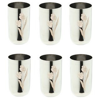 AH Stainless Steel Laser Floral Water Glass Tumbler Drinkware  Tableware DailyUse Water Glass 250 ML - Set of 6
