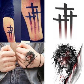 Ordershock  Jesus with God of Cross Combo Waterproof Temporary Body Tattoo 91+505
