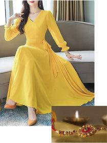 Vivient Women Yellow V-Neck Long Dress Raakhi Combo